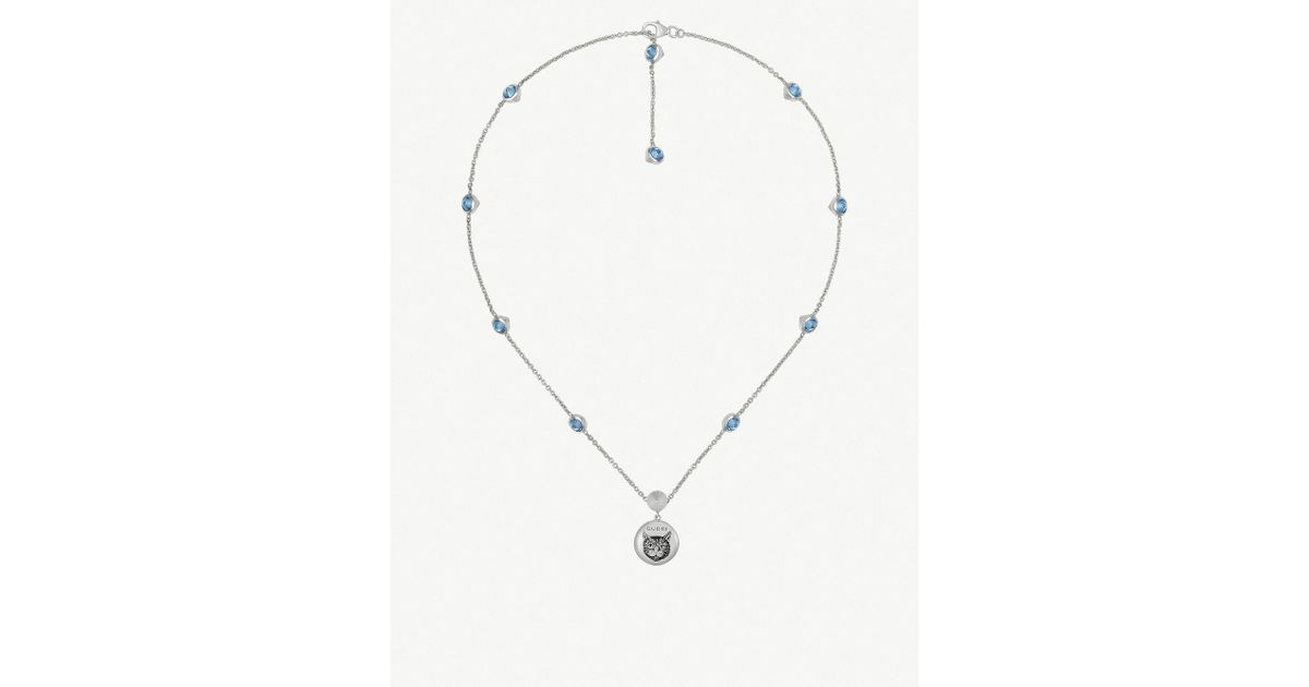 741aeaa19 Lyst - Gucci Blind For Love Cat-engraved Sterling Silver And Blue Zirconia  Necklace in Metallic