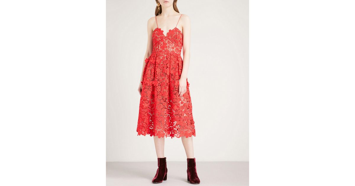 5e4c616fceea8 Lyst - Self-Portrait 3d Floral Azaelea Guipure-lace Midi Dress in Red