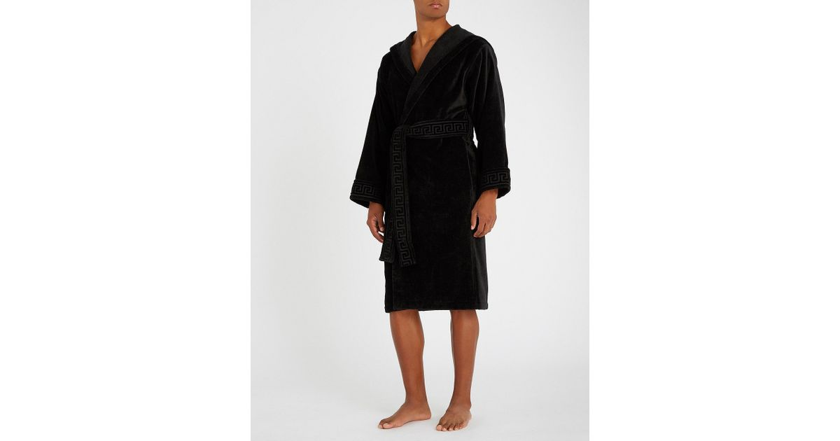 Lyst Versace Greco Jacquard Cotton Dressing Gown In Black For Men