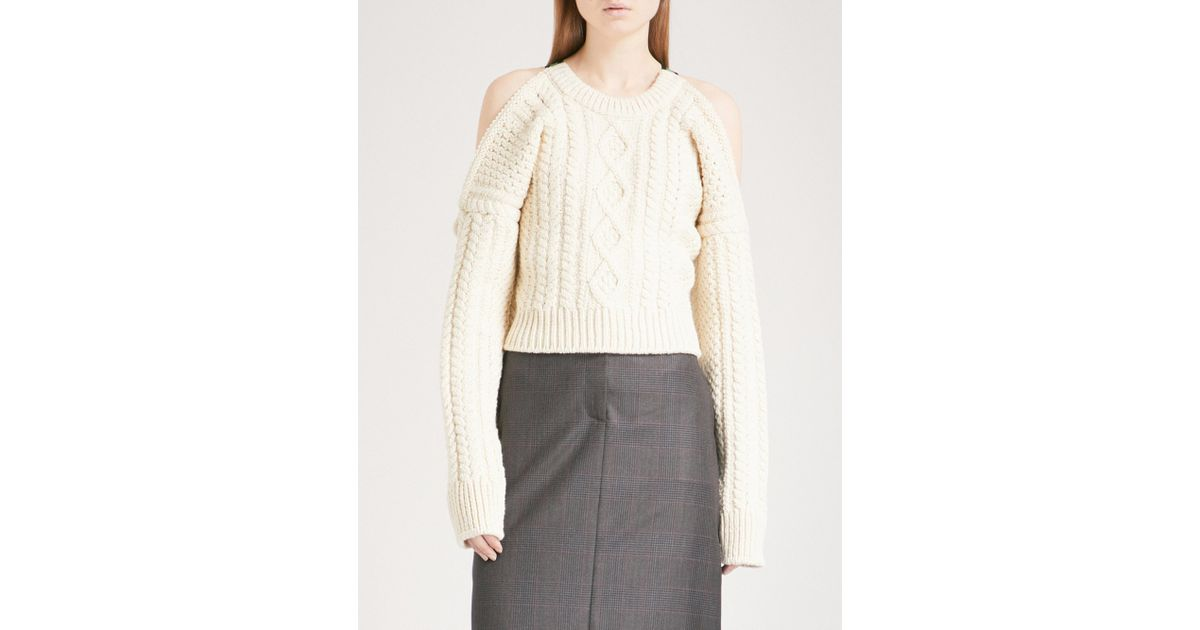 93f9f06c2d4 Lyst - CALVIN KLEIN 205W39NYC Cold-shoulder Cable-knit Wool-blend Jumper in  White