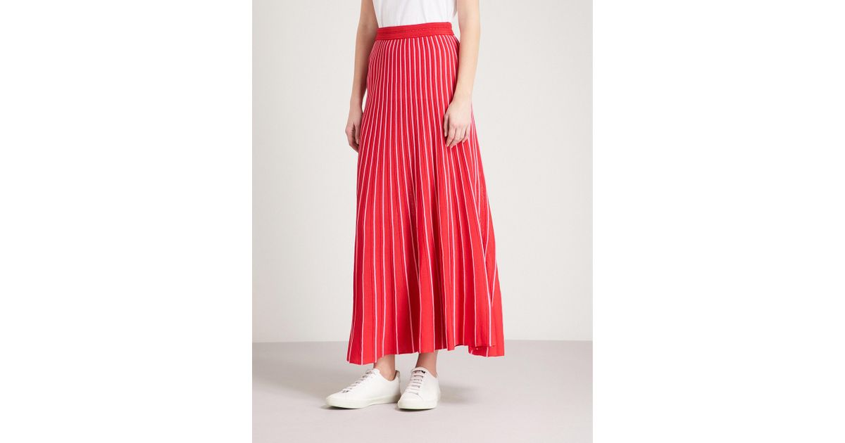 87cc1f1ca Sandro Striped Knitted Midi Skirt in Red - Lyst
