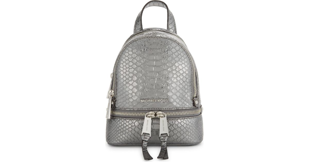 e202407db8d7 Lyst - MICHAEL Michael Kors Rhea Extra-small Crocodile-embossed Leather  Backpack in Gray