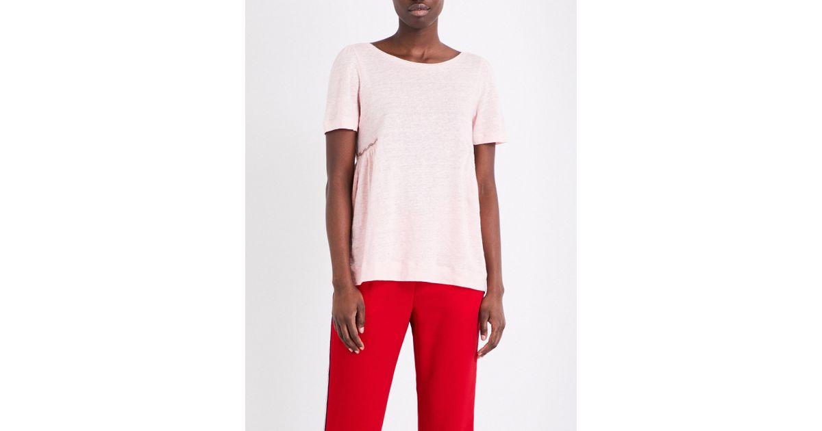 a919cbf86eb1 Claudie Pierlot Floral-insert Pure-linen T-shirt - Lyst