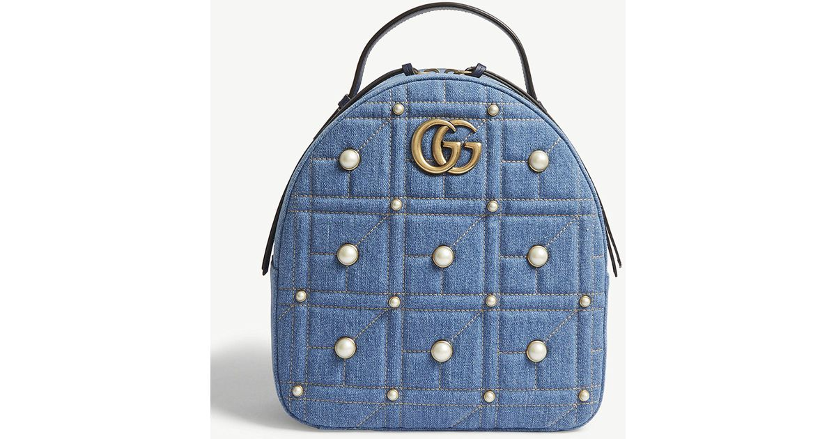 326769aa2d4f61 Gucci Gg Marmont Denim Backpack in Blue - Lyst