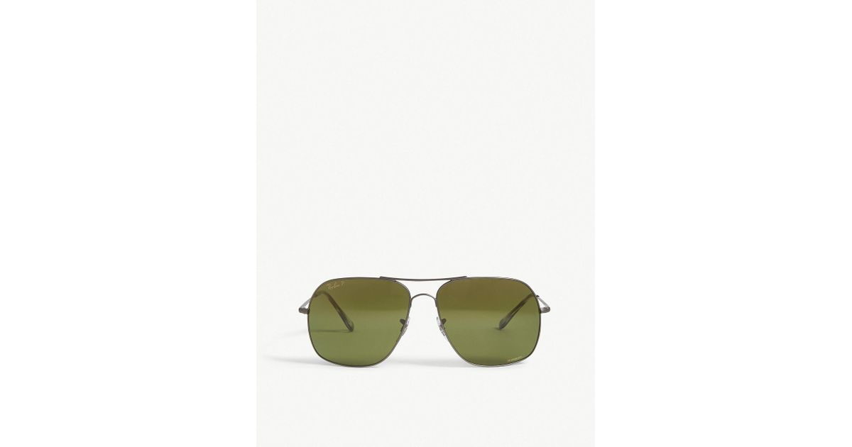 38ec6d289d Lyst - Ray-Ban Rb3587 Chromance Square-frame Sunglasses in Green