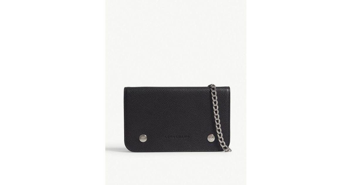 86de5d1553d4 Longchamp Noir Black Le Foulonné Leather Wallet With Chain in Black - Lyst