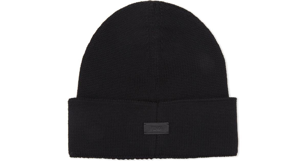 635f234d3a7178 Fendi Love Wool Beanie in Black for Men - Lyst