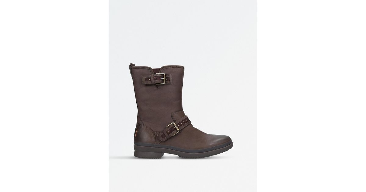 e3c7c962939 Ugg - Ladies Dark Brown Waterproof Jenise Leather Rain Boots - Lyst
