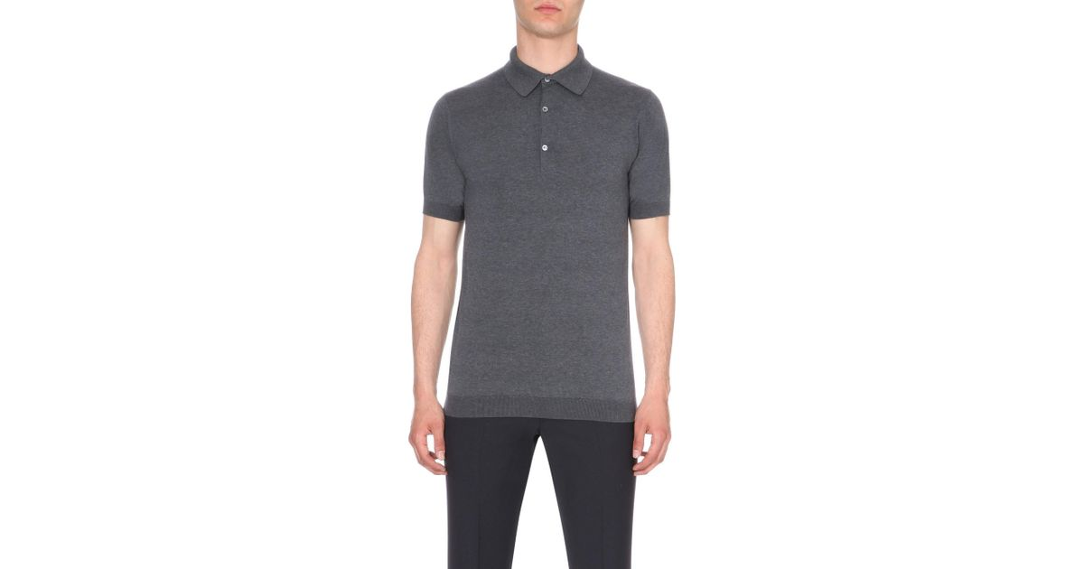 40896014a Lyst - John Smedley Adrian Cotton Polo Shirt in Gray for Men - Save 9%