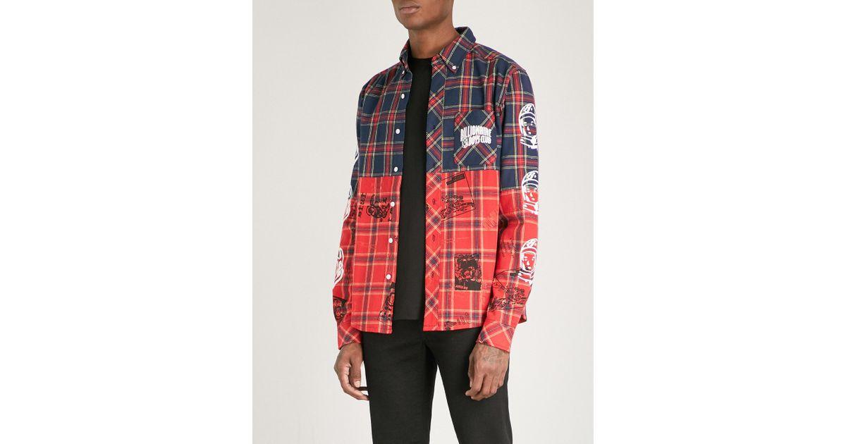 50fb2268 BBCICECREAM Headline-print Cotton-flannel Shirt in Red for Men - Lyst