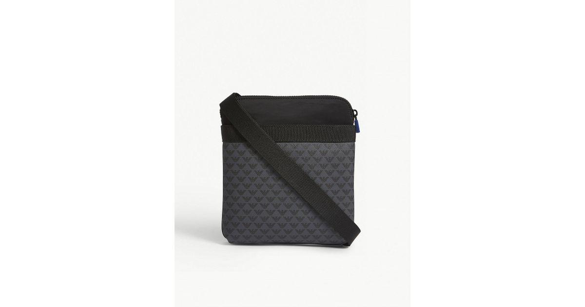 Lyst - Emporio Armani Brand Logo Print Messenger Bag in Black for Men 1f0798494b008