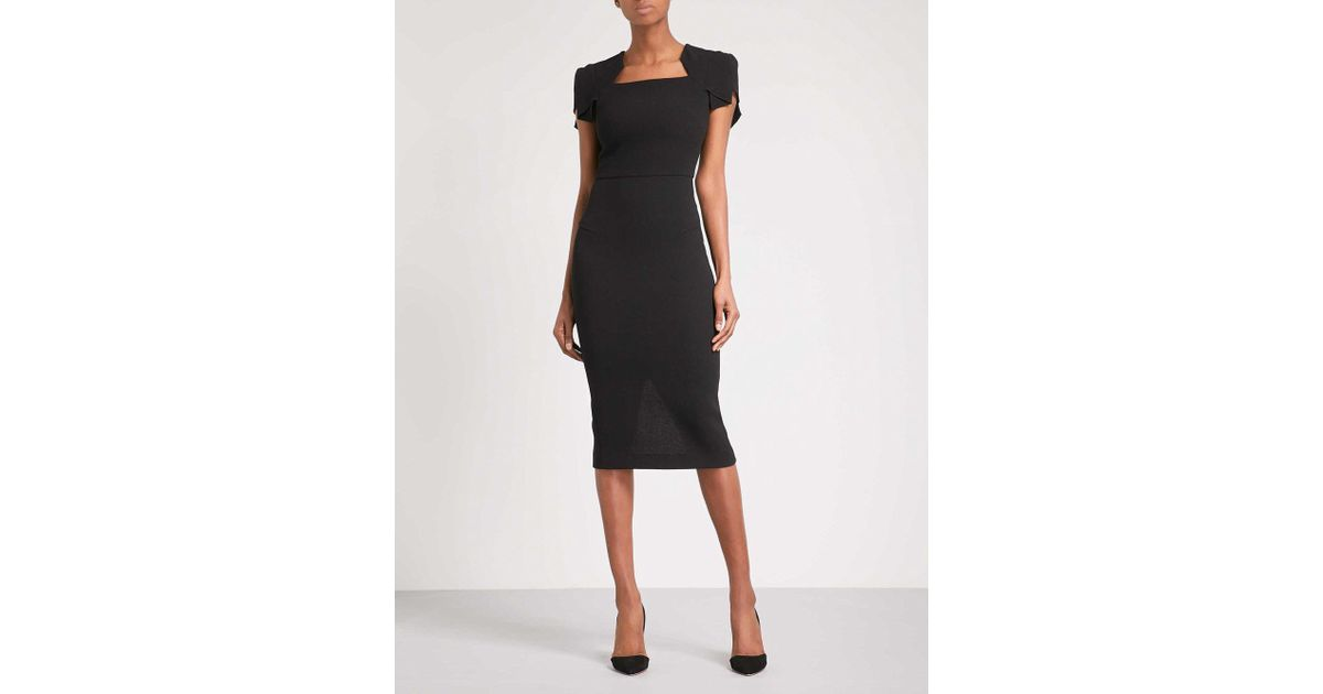 29cbe01be8c Roland Mouret Royston Fitted Wool-crepe Midi Dress in Black - Lyst