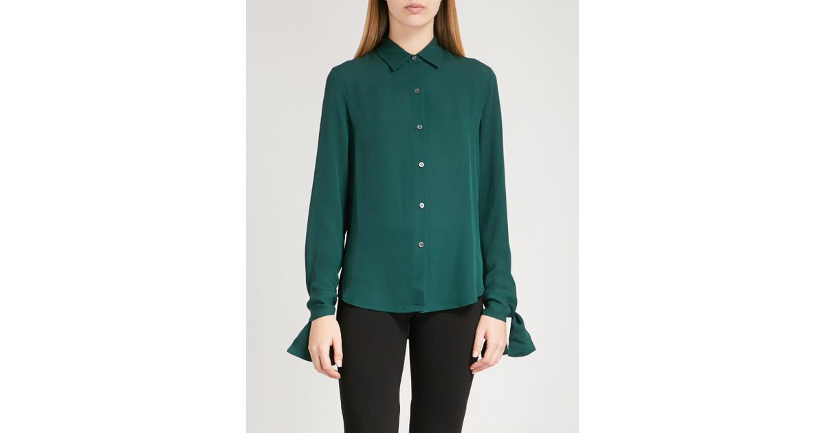 bc8d601f776328 Lyst - Theory Tie Cuff Silk-crepe Shirt in Green