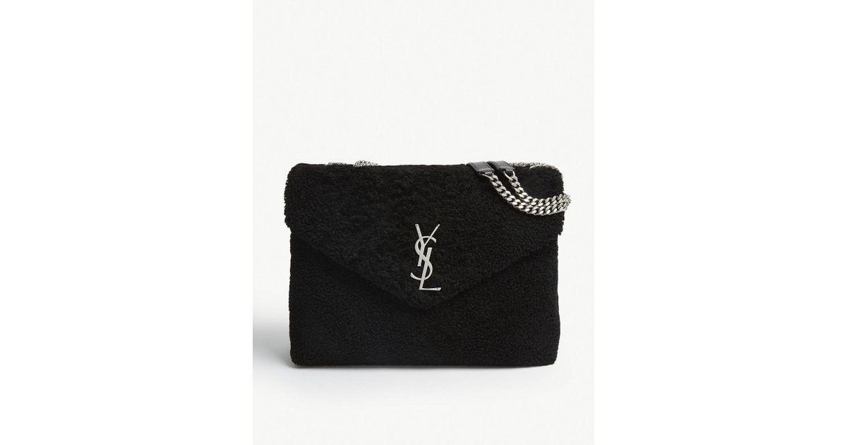 445ab9f28c18 Lyst - Saint Laurent Black Loulou Shearling Cross Body Bag in Black