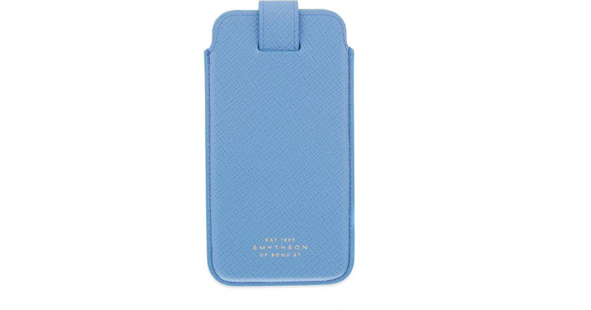 online retailer 47c3d 04aeb Smythson - Blue Panama Iphone 6 Case - Lyst