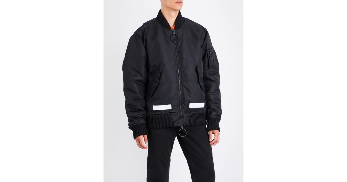 5678b6530a97 Lyst - Off-White c o Virgil Abloh Brushed Logo-print Satin Bomber Jacket in  Black for Men