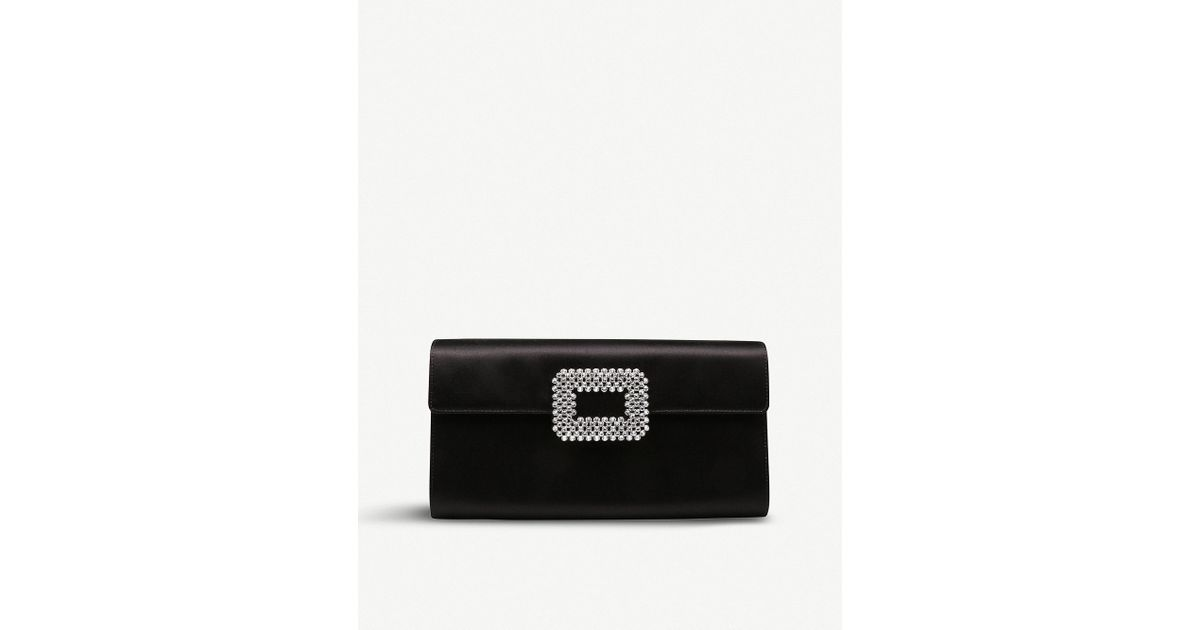 Lyst - Roger Vivier Diadem Envelope Silk-satin Clutch Bag in Black 6d8cadaa91f58