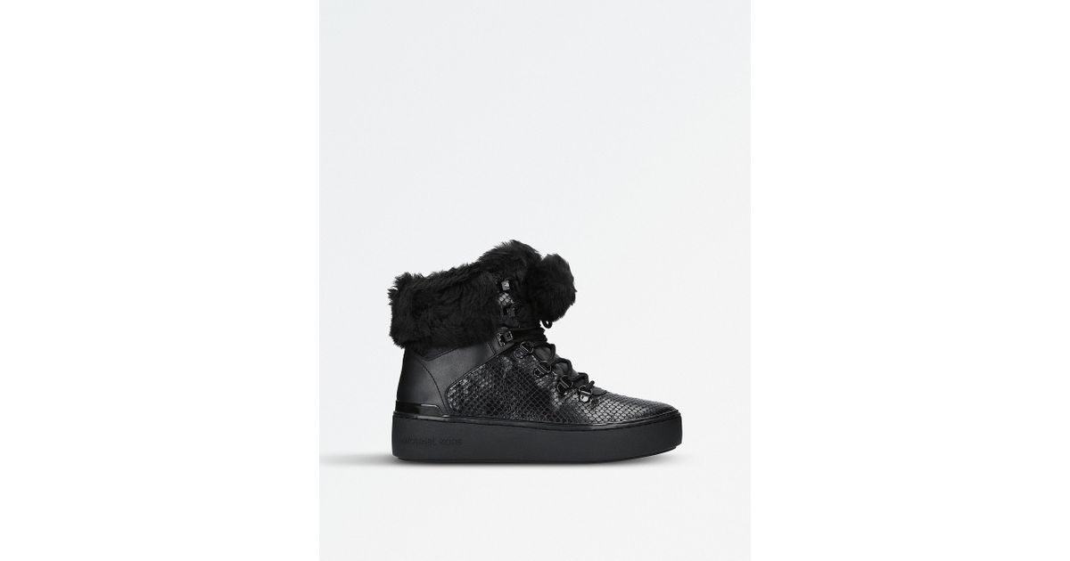 6152c77977 Lyst - MICHAEL Michael Kors Kyle Hiker Leather High-top Trainers in Black