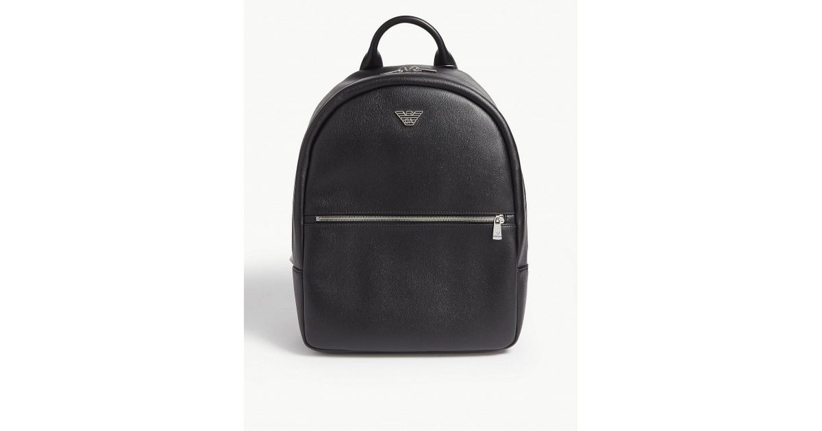 ba9eac8f789b Lyst - Emporio Armani Logo Appliqué Faux-leather Backpack in Black for Men