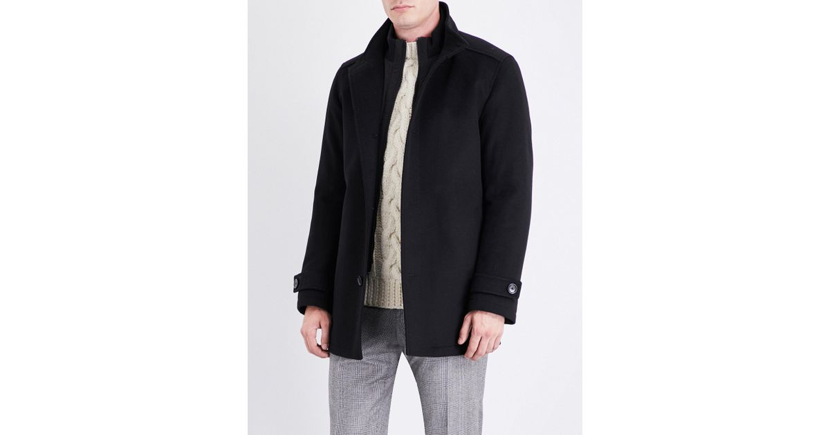 Lyst - Boss Black Zip-insert Wool And Cashmere-blend Coat in Black for Men