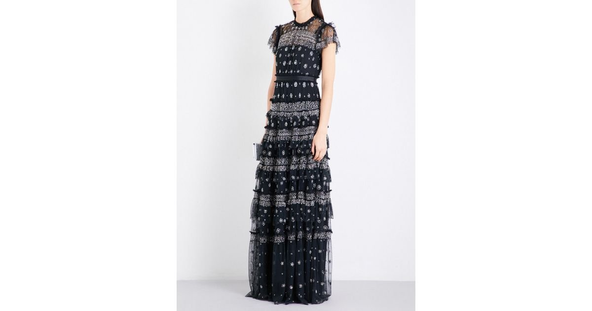 Lyst - Needle & Thread Andromeda Embellished Tulle Gown in Black