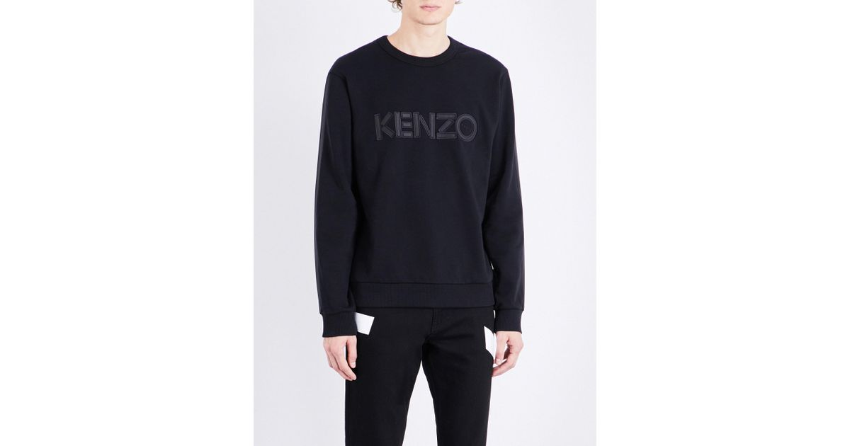 ce3c1b01ac85 Lyst - KENZO Logo-embroidered Cotton-jersey Sweatshirt in Black for Men