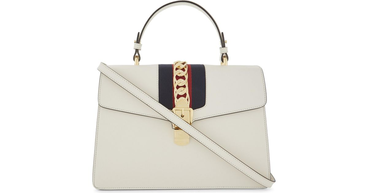 39c067f9ae6b Gucci Sylvie Medium Leather Shoulder Bag in White - Lyst