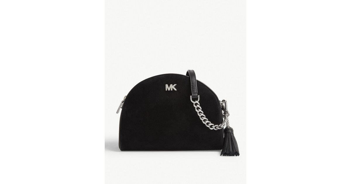 d6e12e8f4e29 Lyst - MICHAEL Michael Kors Ginny Leather Half Moon Cross-body Bag in Black