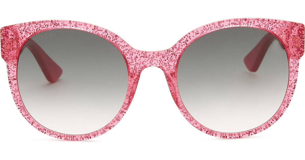 a94d27f81d Lyst - Gucci Glitter Gg0035s Round Frame Sunglasses in Pink