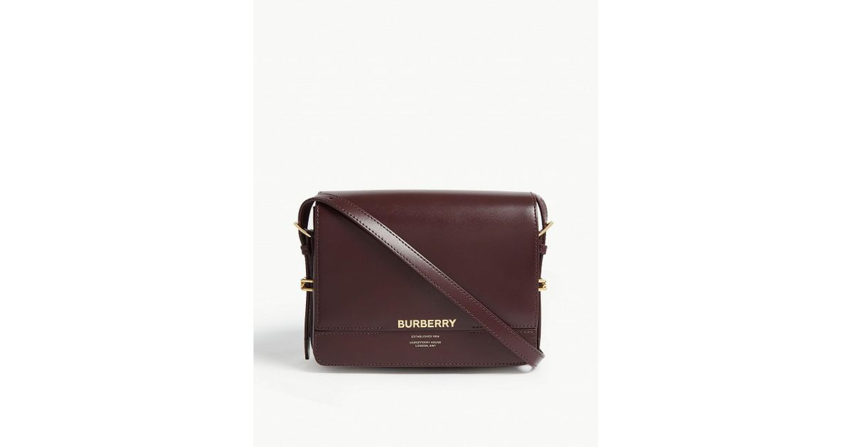 14145637db Burberry Grace Leather Shoulder Bag in Purple - Lyst