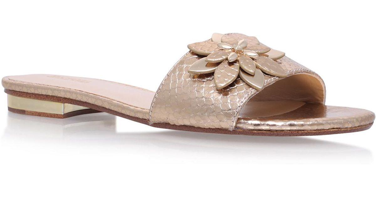 64bec5dcd1eb Michael Michael Kors Heidi Flat Sandal in Metallic - Lyst
