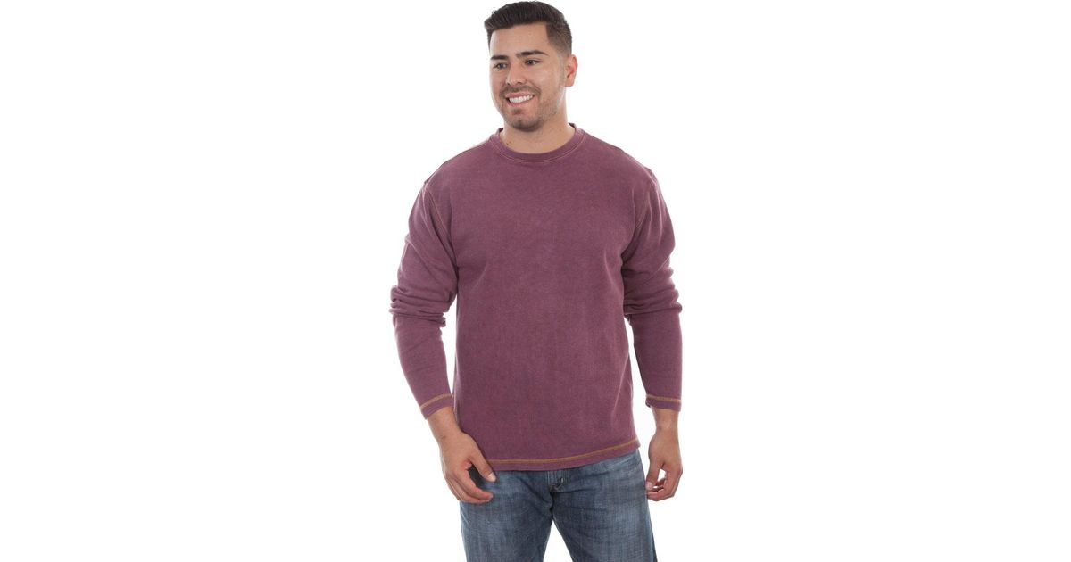 8d940429fda1a Lyst - Scully Beefy Cotton Ribbed Knit T-shirt Tr-058 in Purple for Men