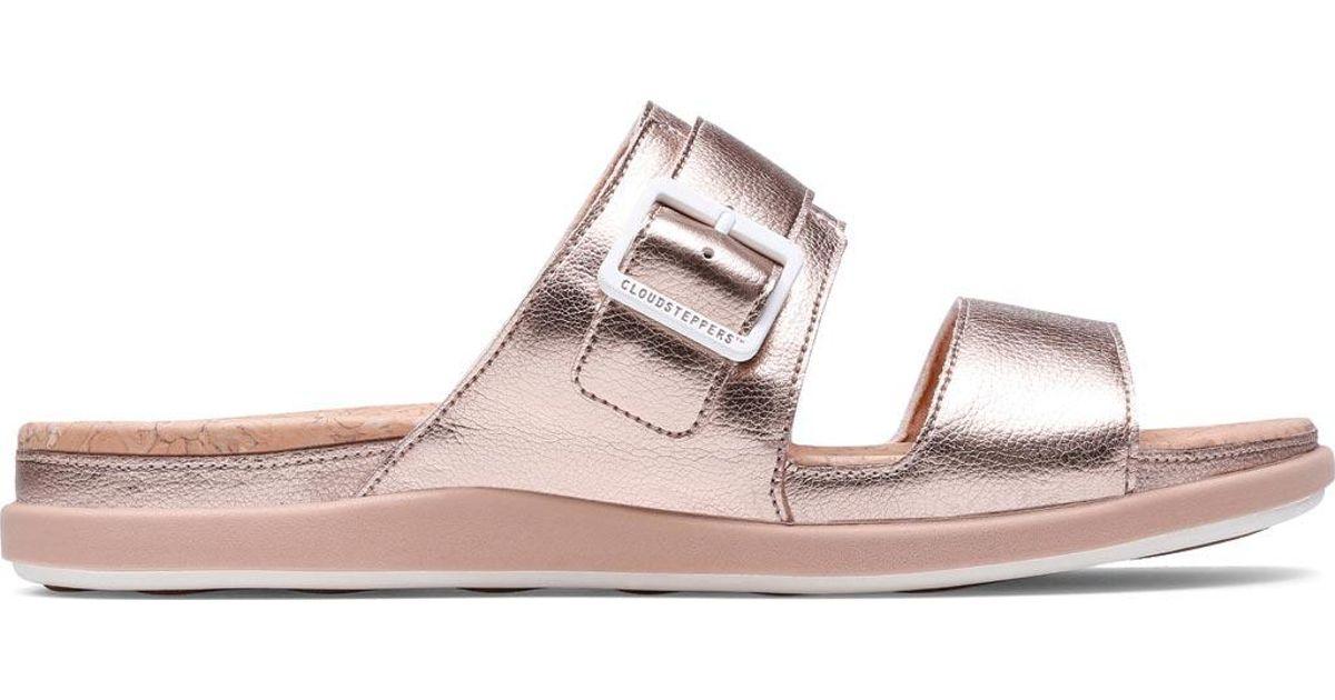 4bee4fab447 Lyst - Clarks Cloudsteppers Step June Tide Slide Sandals in Pink ...
