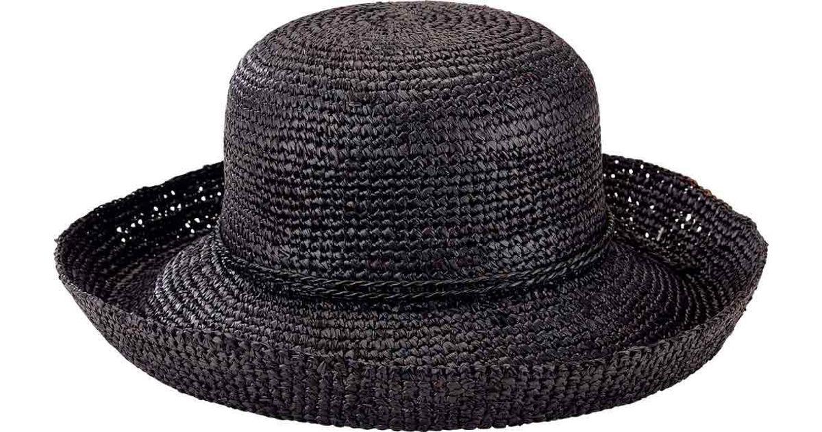 5191fde459c Lyst - San Diego Hat Company Crochet Raffia Kettle Brim Hat Rhm6004 in Black