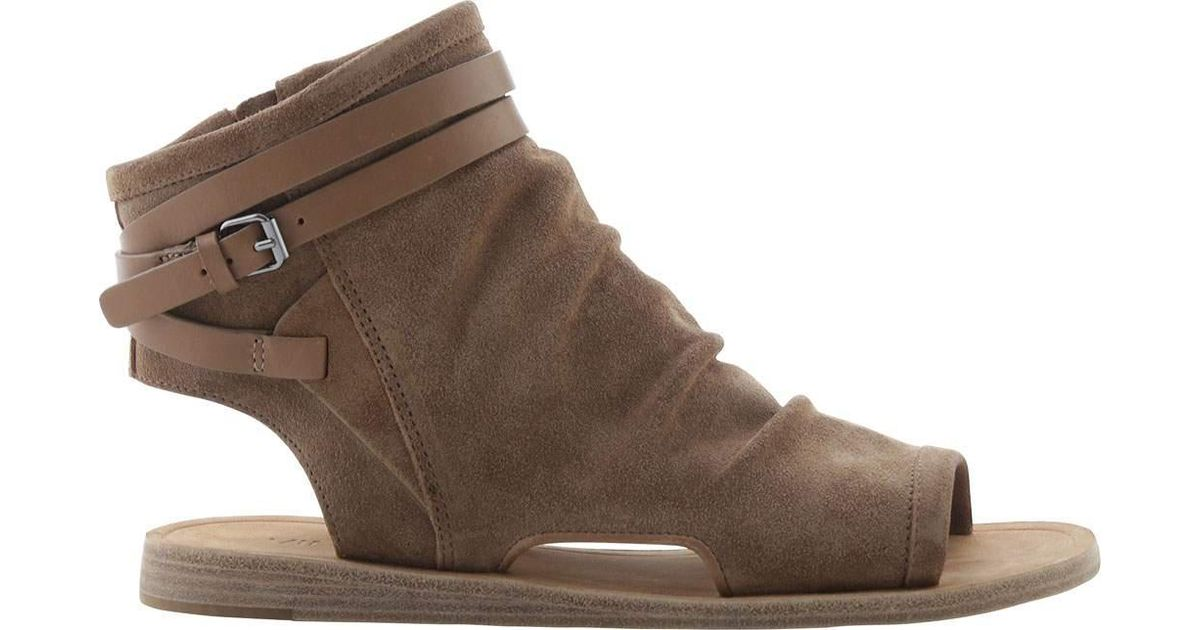 d62ec6b51c59 Lyst - Vince Women s Thalia Slouchy Suede Cutout Flat Sandal Sand Suede  Leather Size in Brown