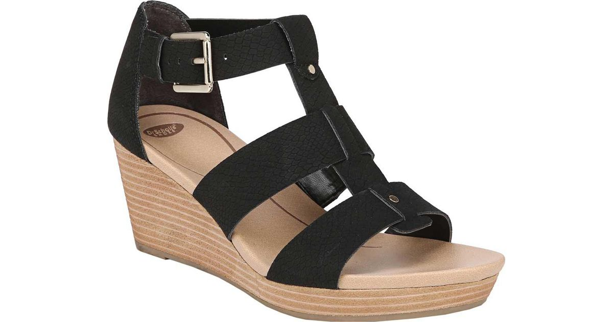 1fd3760f42b Lyst - Dr. Scholls Bailey Wedge Sandals in Black - Save 43%