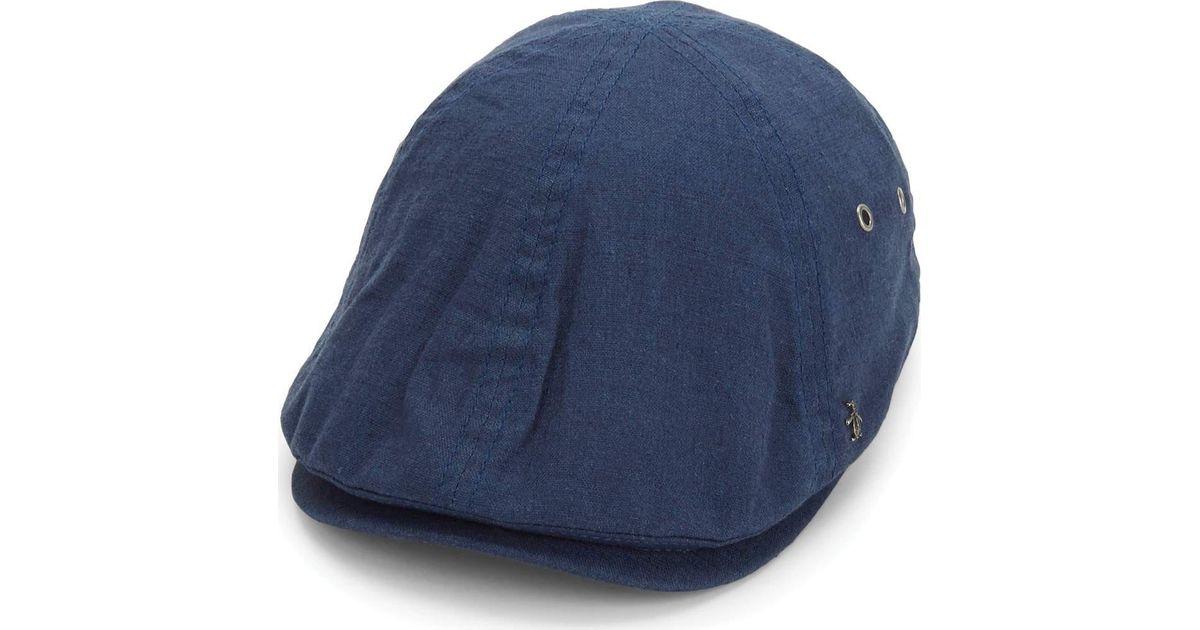 d6f0d06a8 Original Penguin - Blue Linen Ivy Driving Cap for Men - Lyst