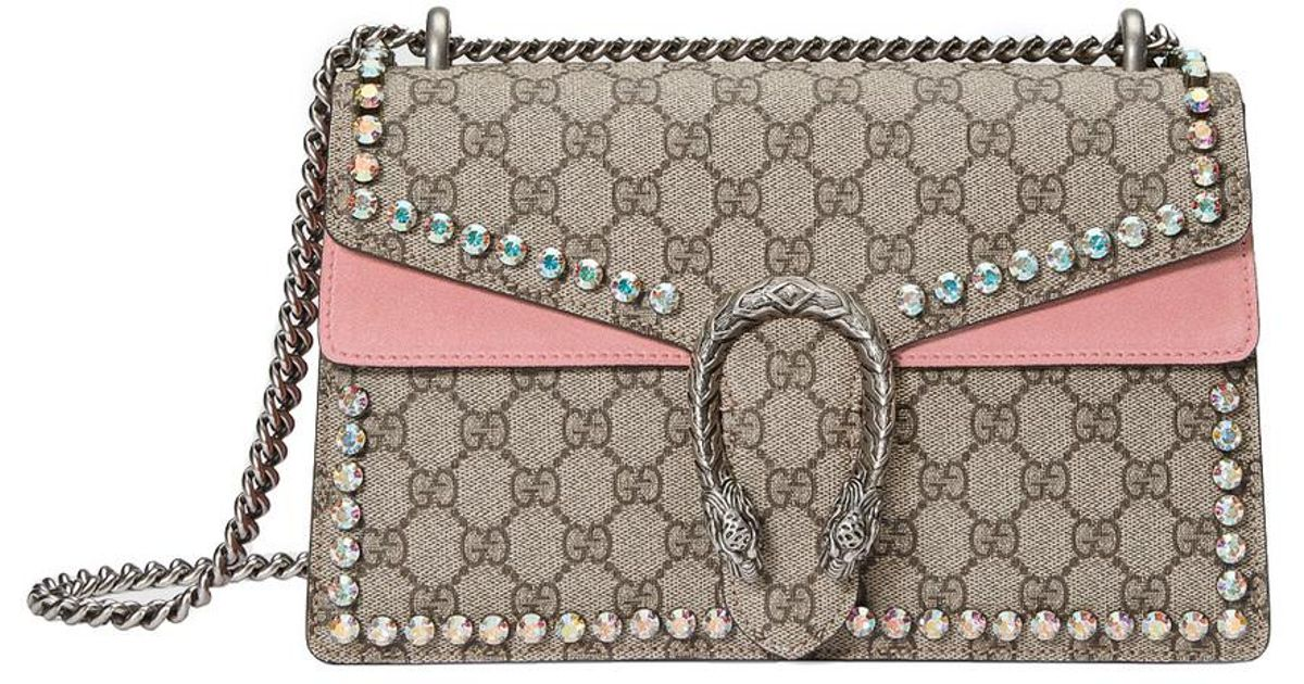 890d7848394 Lyst - Gucci Pink Dionysus Gg Supreme Shoulder Bag With Crystals in Pink