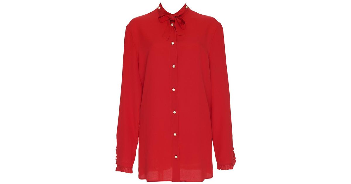 c4229c8260e3d Lyst - Gucci Red Silk Button-down Shirt in Red
