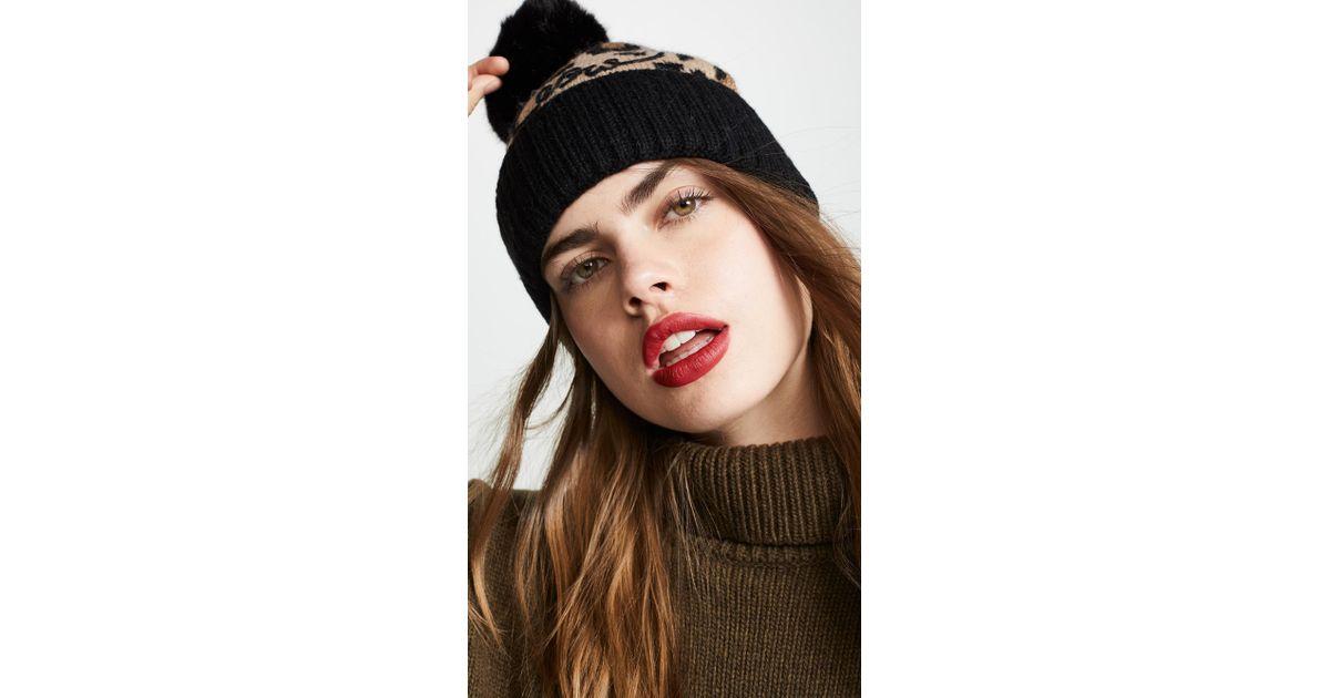 e758b0028f15 Kate Spade Leopard Beanie Hat - Lyst