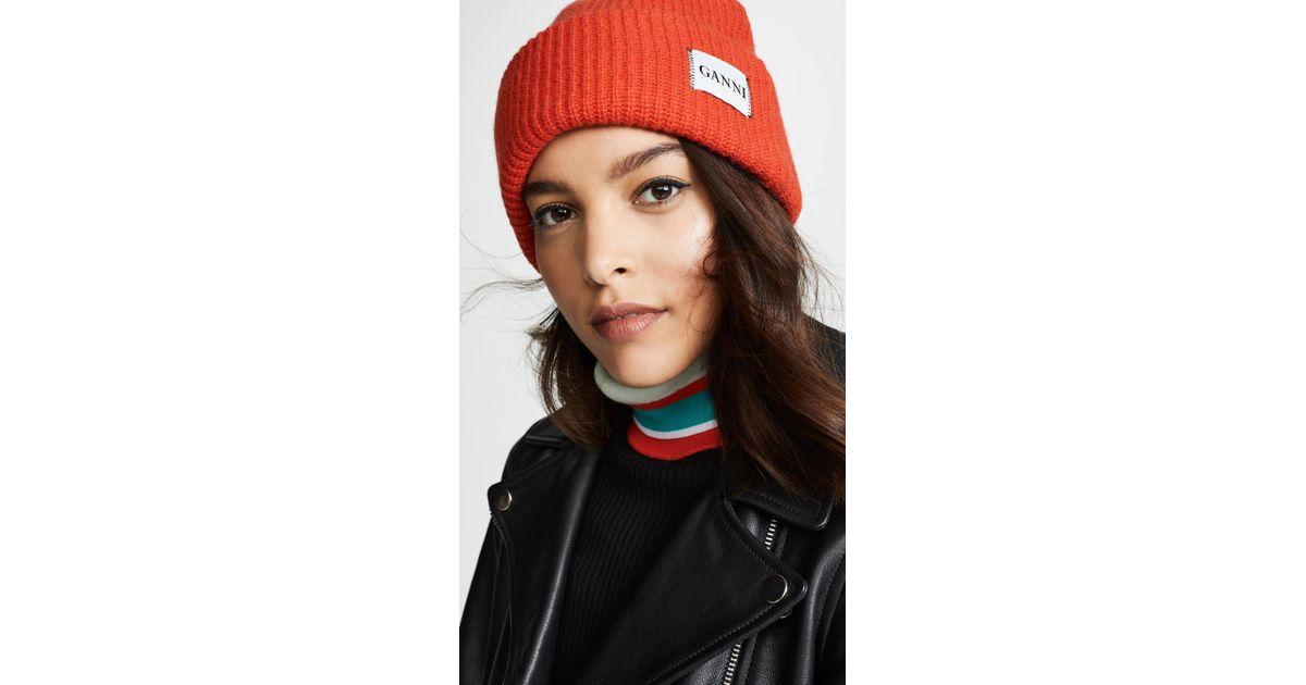 Ganni Hatley Knit Hat - Lyst 8fceb1a23eaa