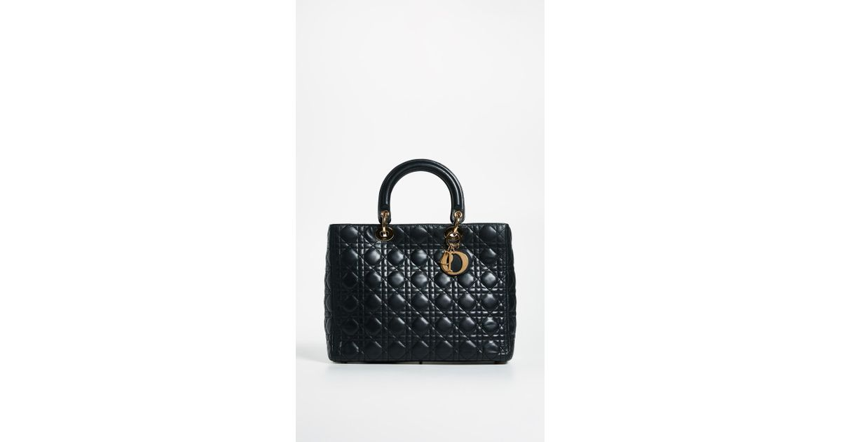 3cc27588c18 Lyst - What Goes Around Comes Around Dior Lady Dior Bag in Black