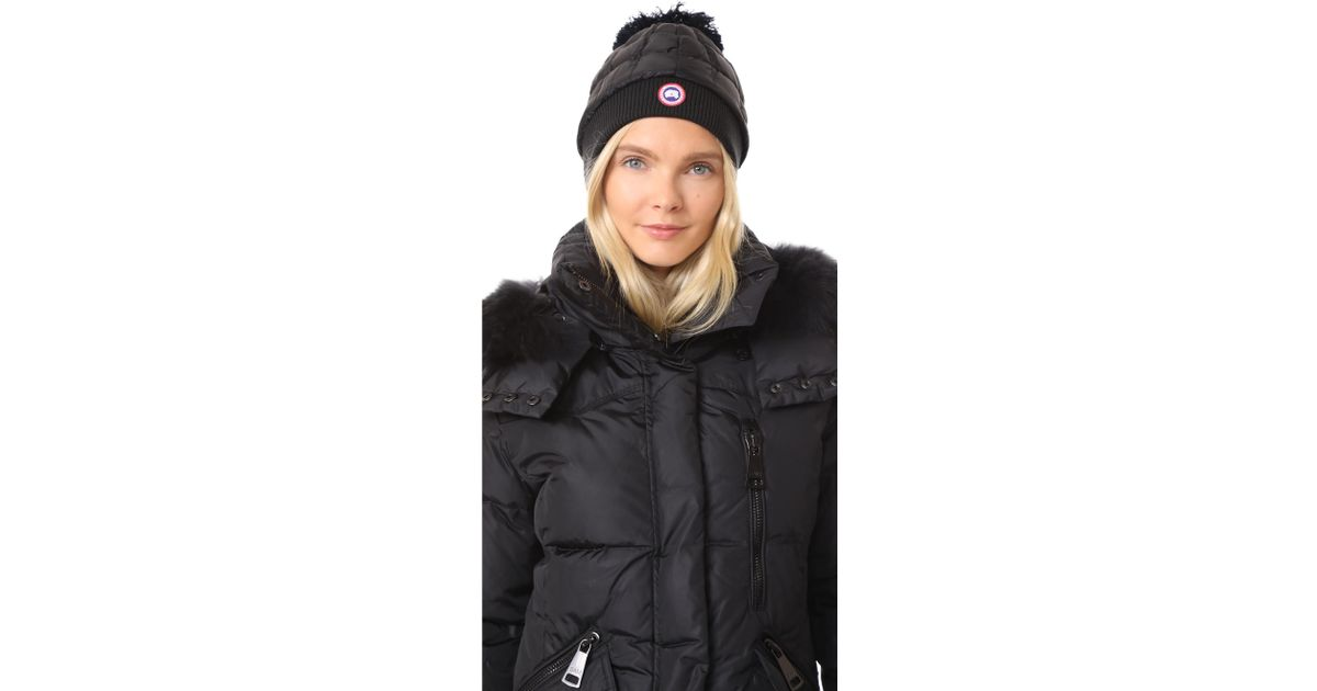 d202b3f4d32ff2 Canada Goose Down Pom Toque Hat in Black - Lyst