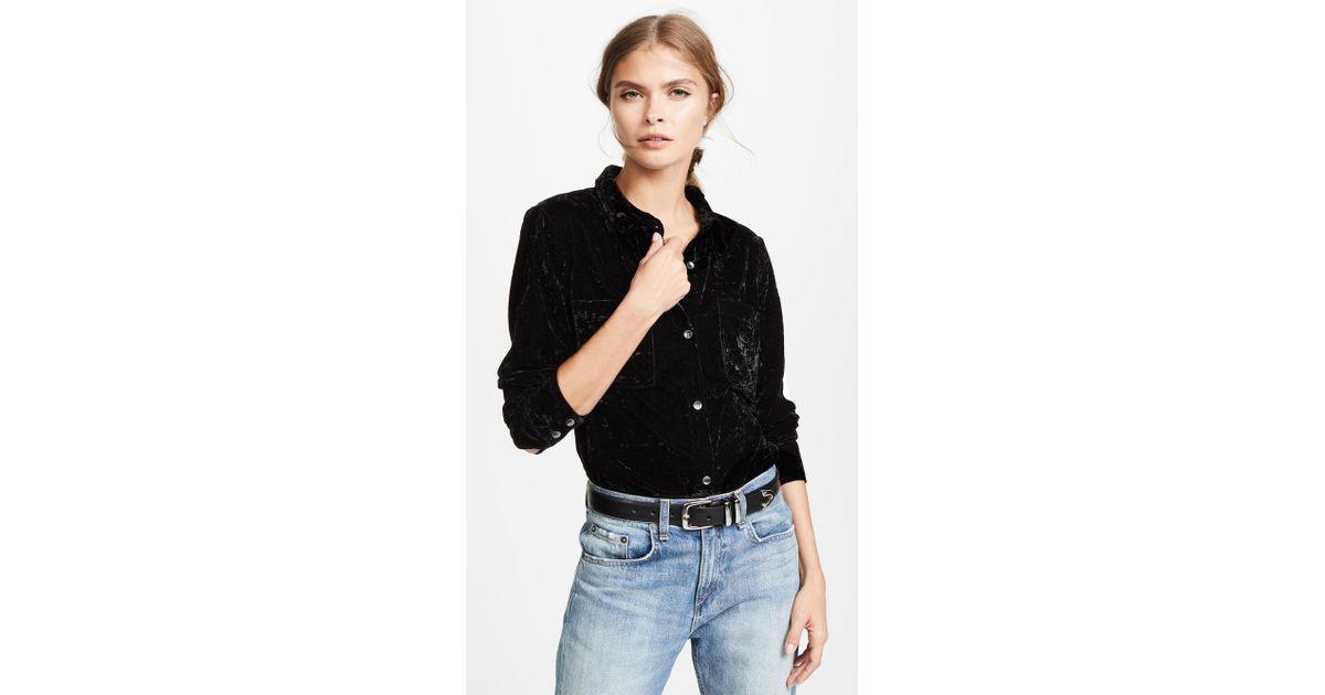6c70b8bd3 Splendid Crushed Velvet Button Down Shirt in Black - Lyst