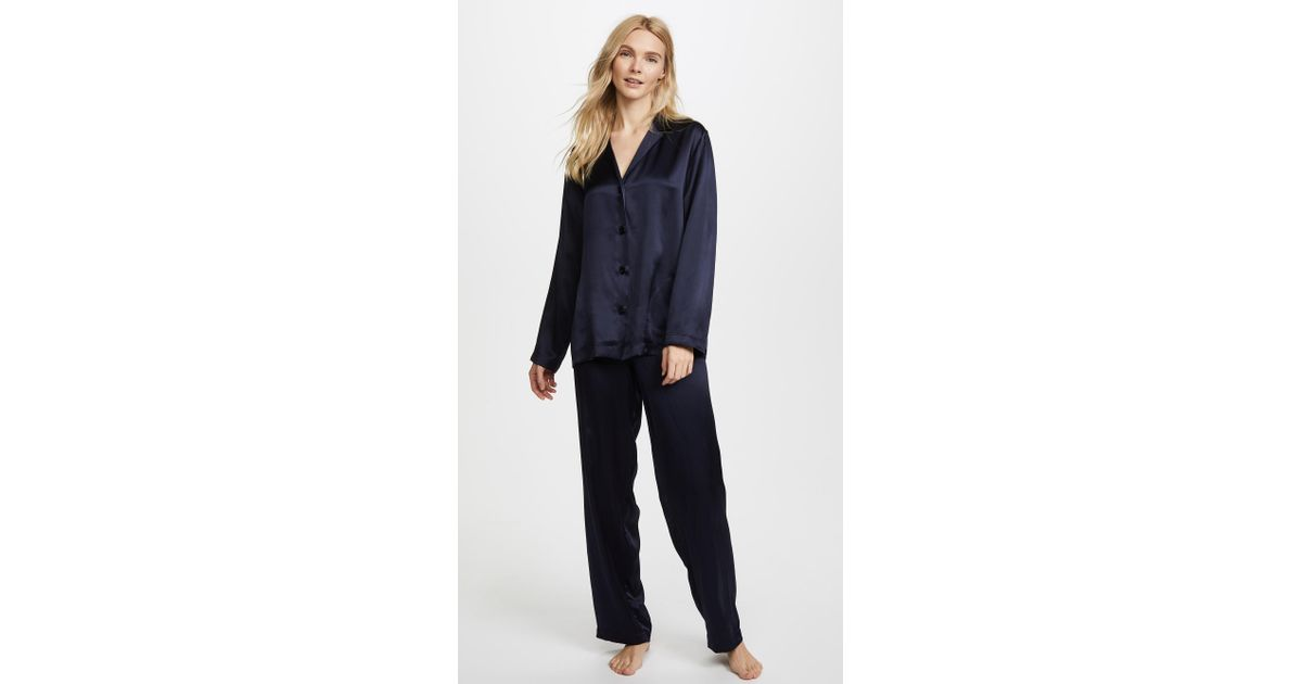 Lyst - La Perla Silk Pajamas in Blue 34d54983a