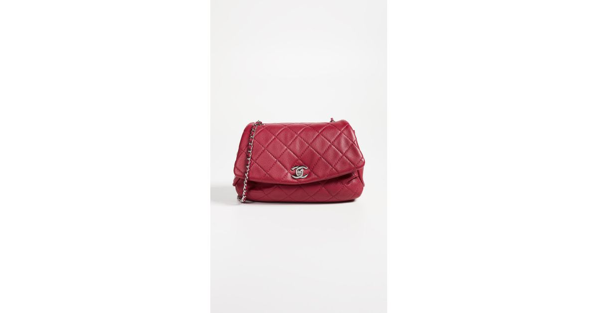 944c1bb810b1 Lyst - What Goes Around Comes Around Chanel Lambskin Round Flap Bag in Red