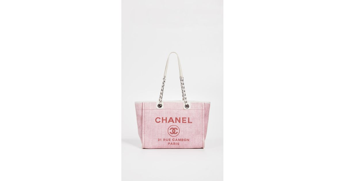 e6e362450495 What Goes Around Comes Around Chanel Deauville Medium Tote in Pink - Lyst