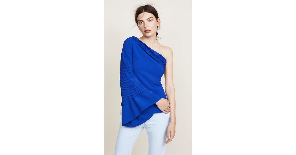 dac261cafe3 Brandon Maxwell One Shoulder Statement Top in Blue - Lyst
