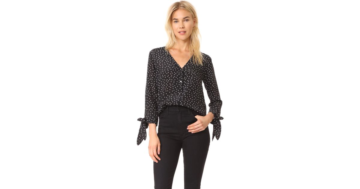 144ffee8a2065 Lyst - Madewell Silk Star Scatter Tie Sleeve Top in Black
