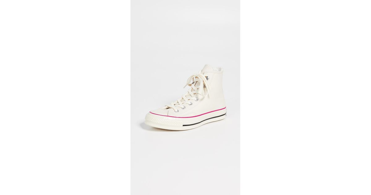 cfed3864ce7157 Lyst - Converse Chuck 70 Leather Hi Top Sneakers in White